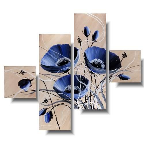 Obraz kwiaty blue jeans