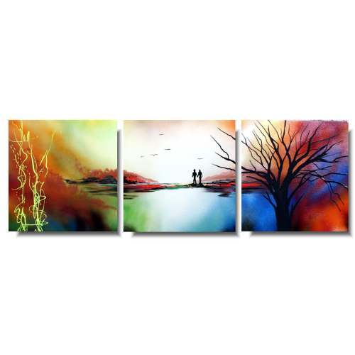 Tryptyk obraz kolorowy pejzaż
