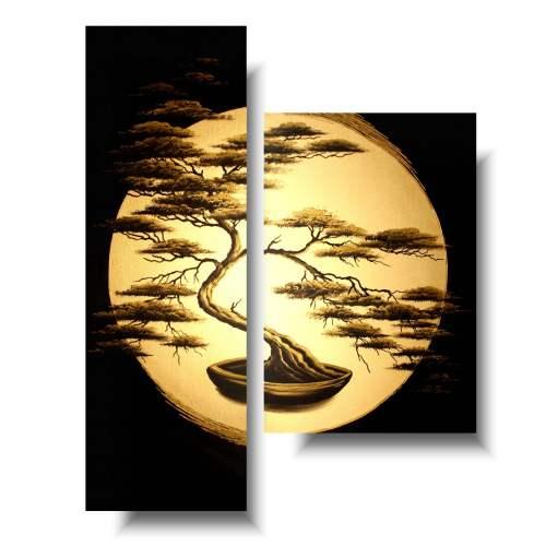 obraz złote drzewo bonsai