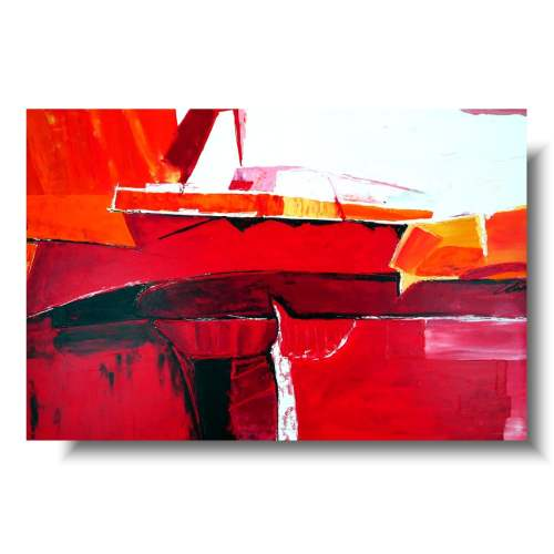 Elegancki duży obraz gorąca czerwień