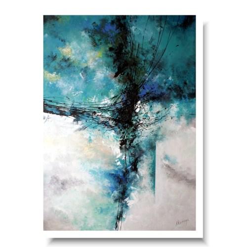 abstrakcja duży turkusowy obraz