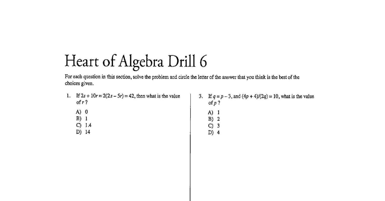 Sat Heart Of Algebra Practice Test 6