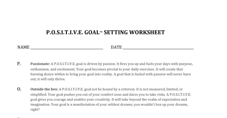 Positive Goals Worksheet