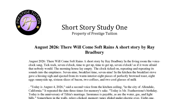 August Short Story Ray Bradbury Short Stories
