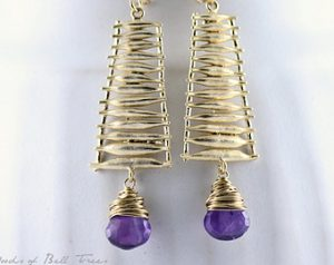 African Amethyst Faceted Heart Briolette Ladder Earrings
