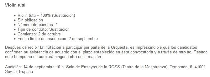 pruebas de acceso  Audiciones para fagot, violín y clarinete de la Real Orquesta Sinfónica de Sevilla