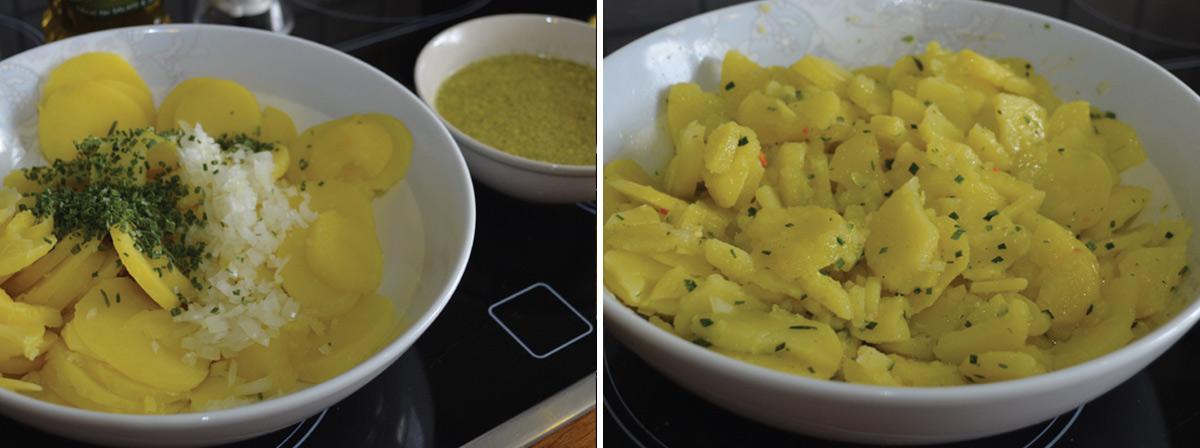 Receita alemã de salada de batatas (Kartoffelsalat)