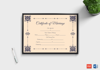 marriage certificate format in english light pink