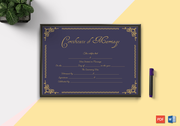 Printable-Marriage-Certificate-(Purple,-Gold)
