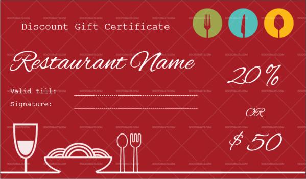 restaurant gift certificate template word doc formats
