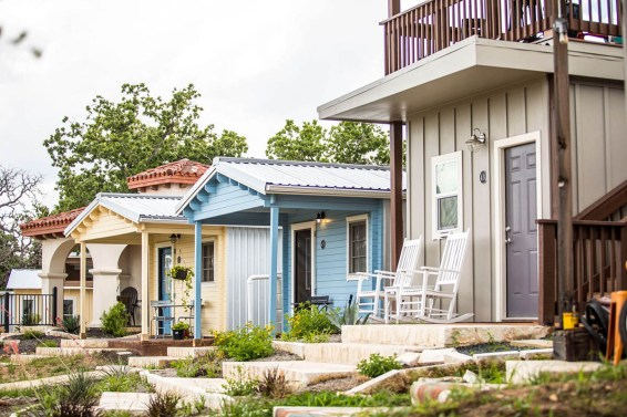 Rows of micro-homes at Community First! Village provide permanent supportive housing for Austinites.