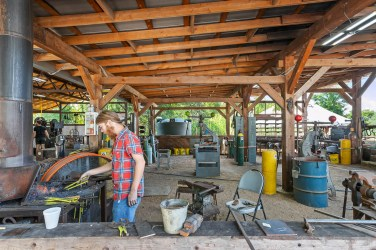 All Community First! Village residents must pay rent, and the Village provides a variety of opportunities for them to earn a dignified income. The Community Forge is a contemporary blacksmith shop, combining high quality craftsmanship with a mission for human dignity through metal work.
