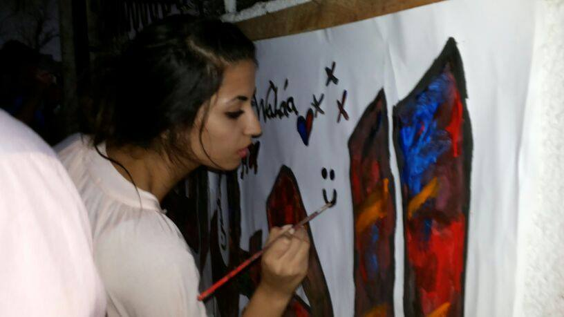 Walaa Al Ghussein on the set