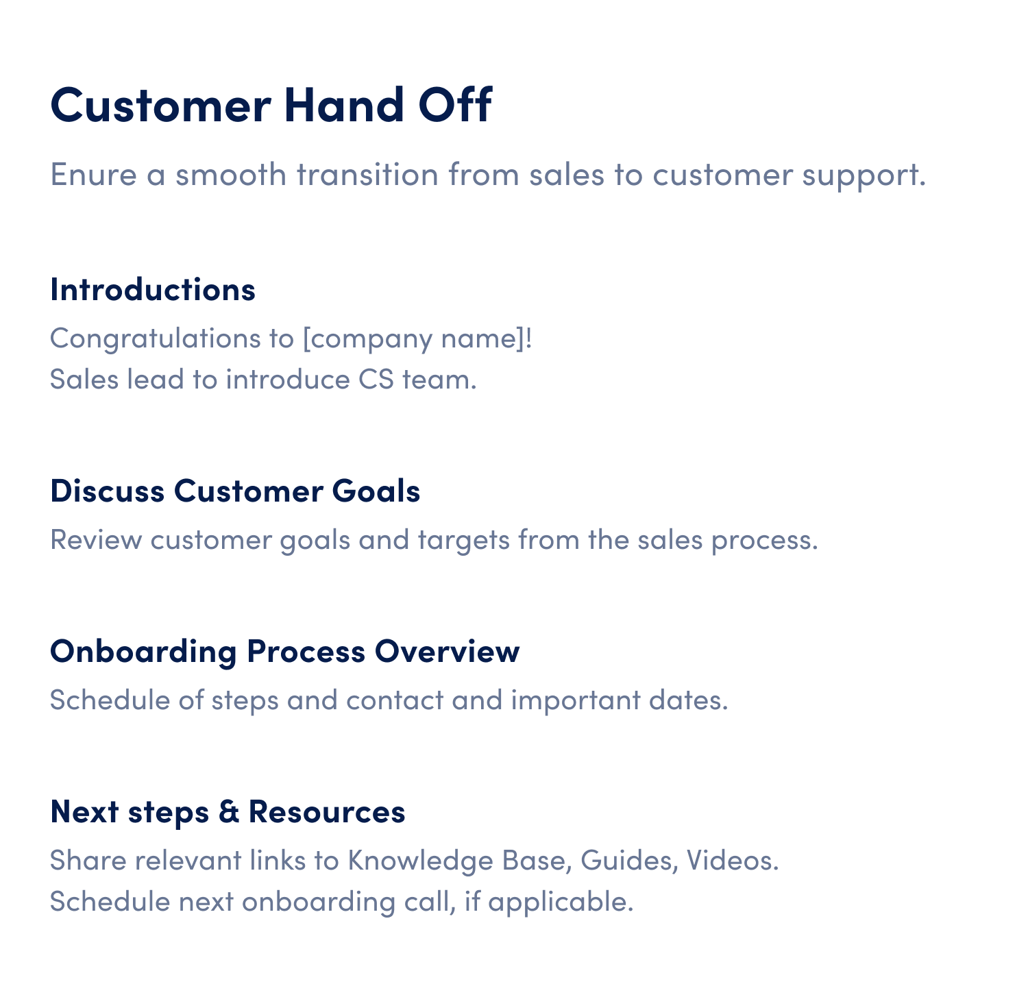 customer hand off meeting agenda template