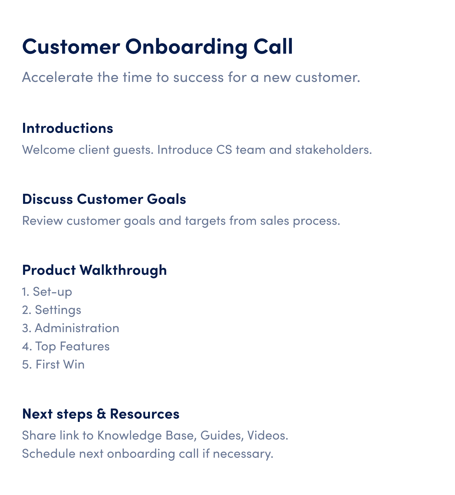 customer onboarding call meeting agenda template