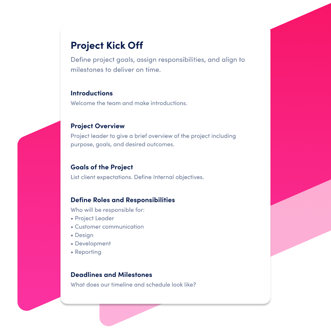 project kickoff template