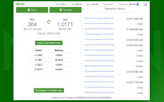 Neon NEO Online Wallet