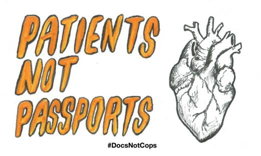 Drawing of a heart with the slogan 'patients not passports'