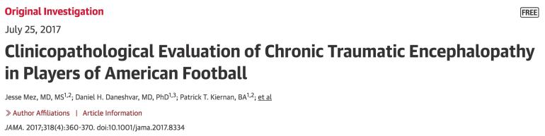 Chronic Traumatic Encephalopathy (CTE) - A Disease of Athletes