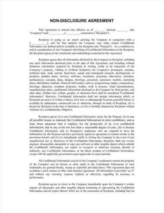 Non-Disclosure Agreement Template 4974