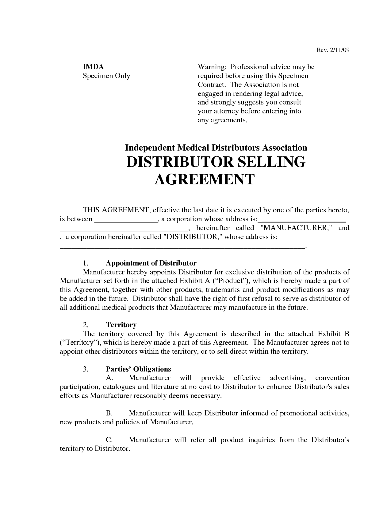 top 5 free distributor agreement templates
