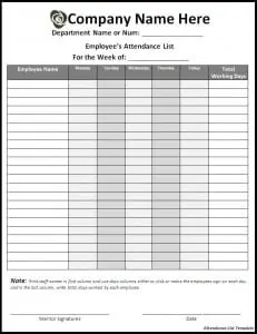 top 5 free layouts for attendance list templates word templates