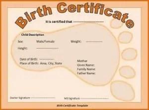 Birth Certificate Template