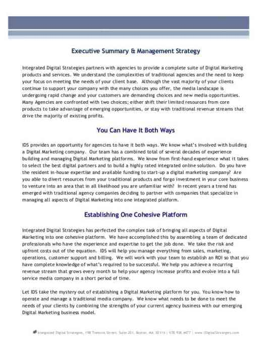 free executive summary templates
