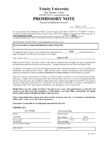 Top 5 Free Samples Of Promissory Note Templates Word Templates