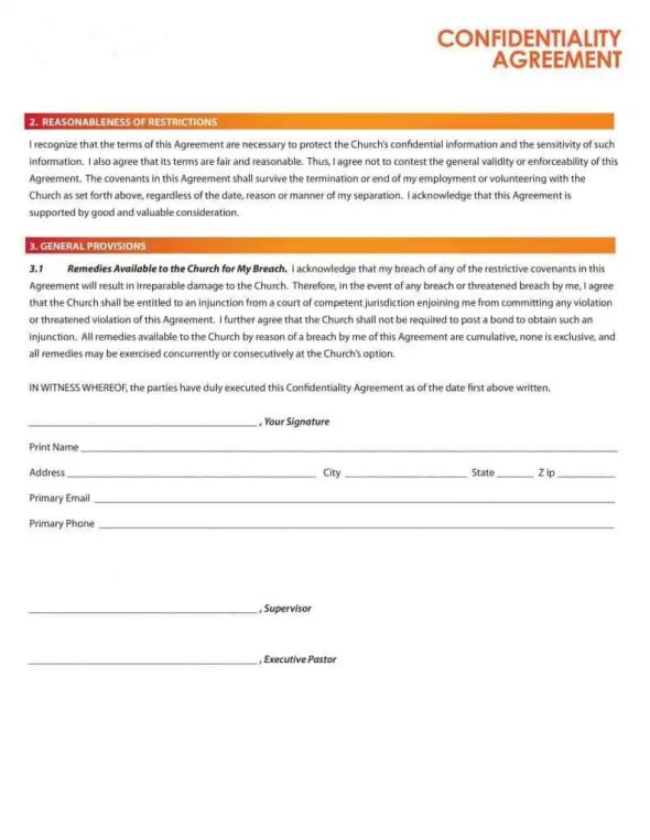 confdentiality agreement template 4941