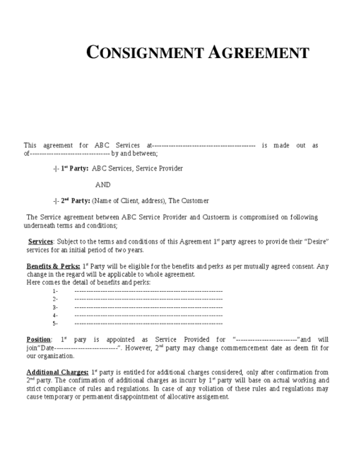 Famous Consignment Stock Agreement Template Photos - Example ...