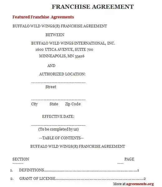 Franchise Agreement Template 4941