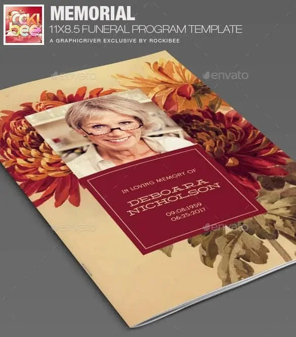 Funeral Program Template 16941  Funeral Poster Templates