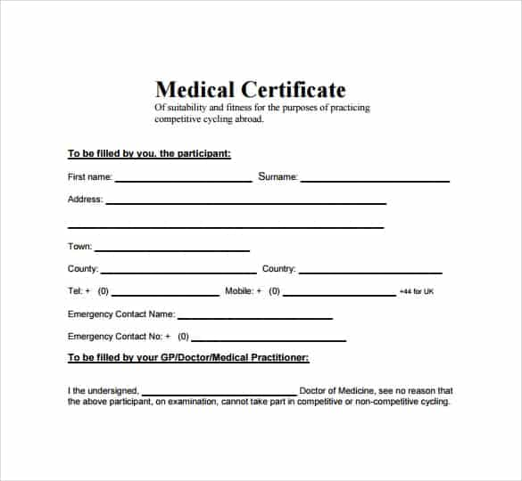 Top 5 free medical certificate templates word templates excel medical certificate template 4975 yadclub