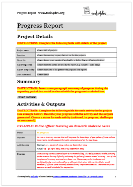 progress report template 16361