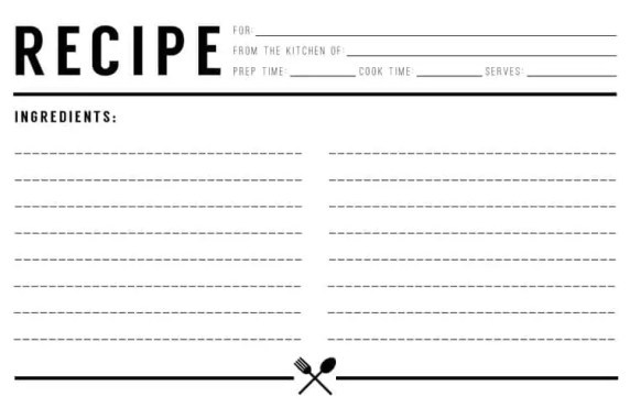 recipe card template 542