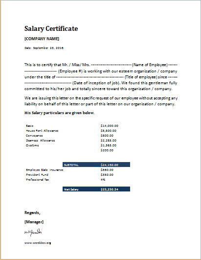 Salary Certificate Template 15422