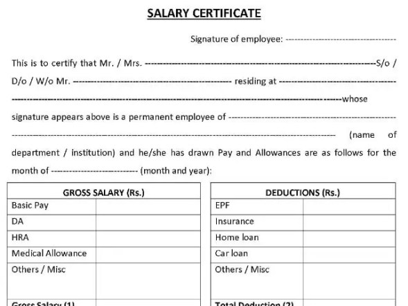 salary certificate template 285454