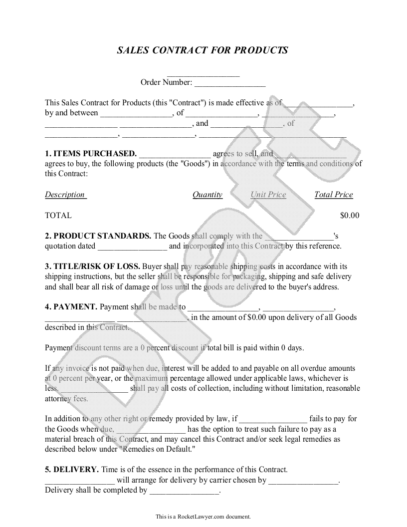 Sales Contract Template 26541  Free Sales Contract Template