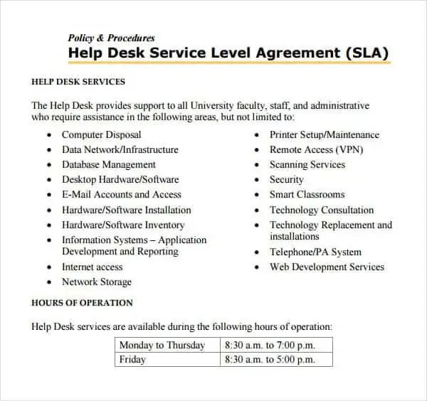 Top  Resources To Get Free Service Level Agreement Templates  Word