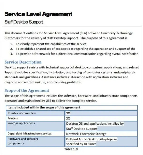 service level agreement template 4621