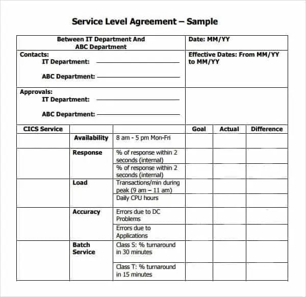Printable Child Care Service Agreement Template