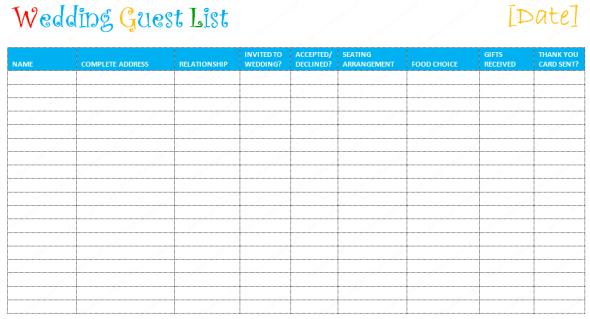 wedding guest list template 3454