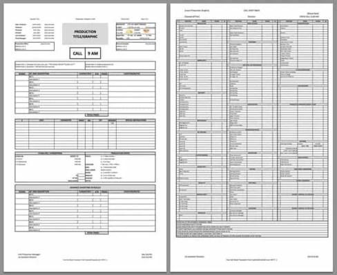 call sheet template 2546