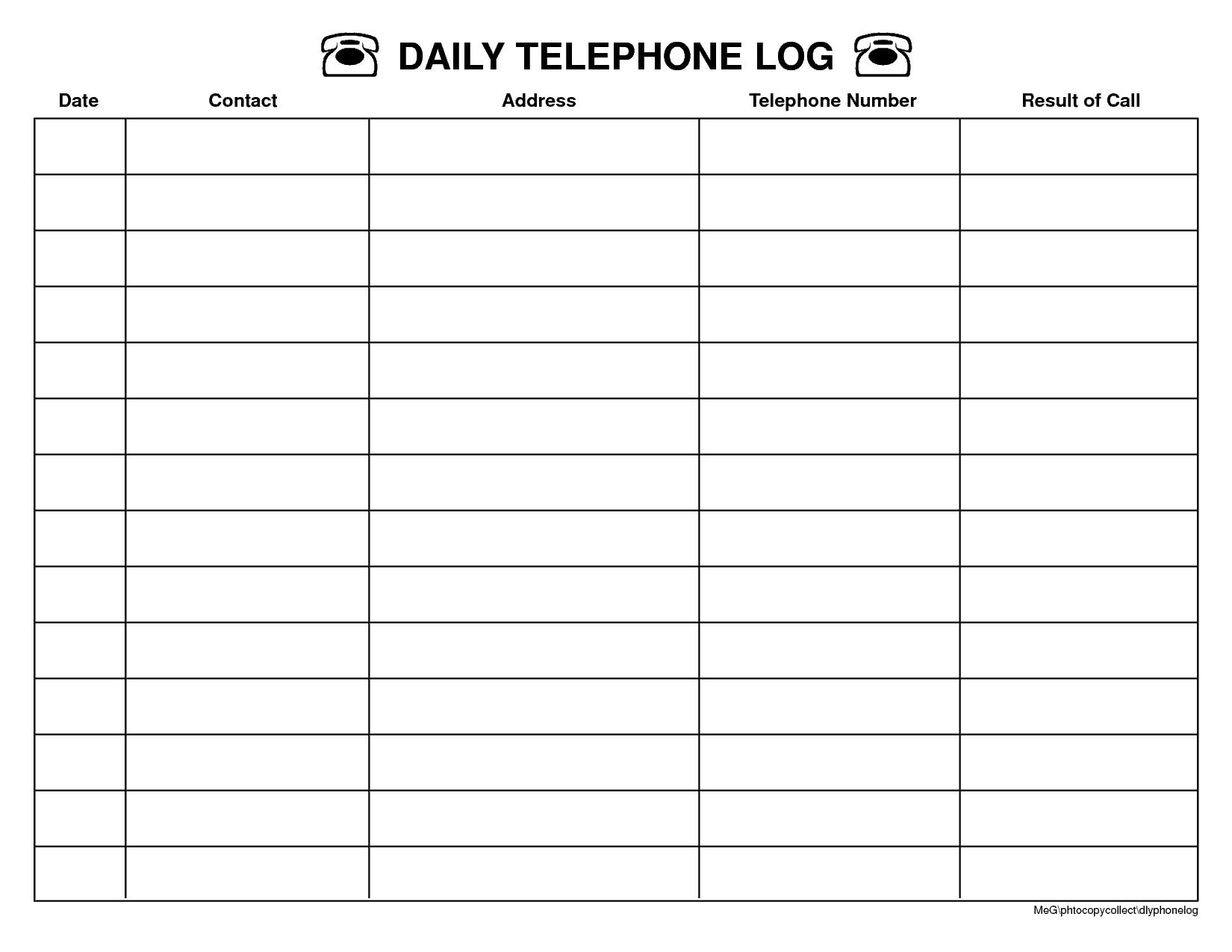 call log template word