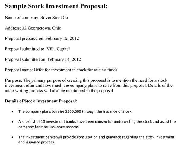 investment proposal for startup