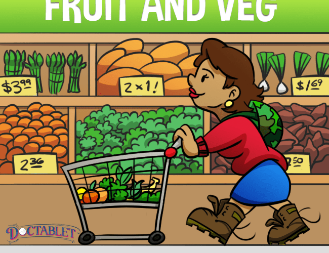Remember that fruits and vegetables should provide about 50% of your food intake.