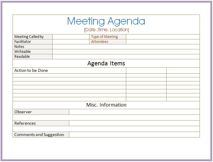 Basic Meeting Agenda Template For Word  Basic Meeting Agenda Template