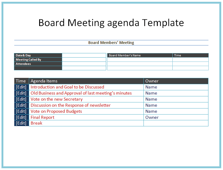 Simple Non Profit Board Minutes Template