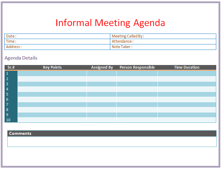 Meeting minutes are used to track progress, assign action items and act as a historical record. Free Informal Meeting Agenda Templates Examples Word Pdf